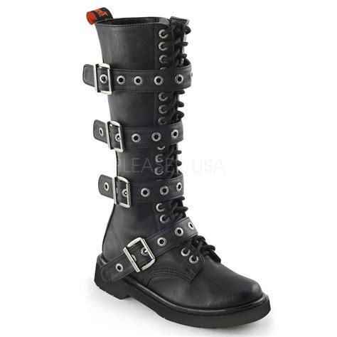 demonia knee high combat boot 20 eyelet buckle straps