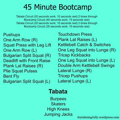 printable hiit workout bootc strength workouts