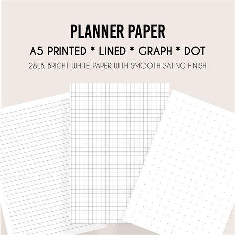 printable lined paper a5 printed a5 lined paper a5 graph paper a5 dot paper by