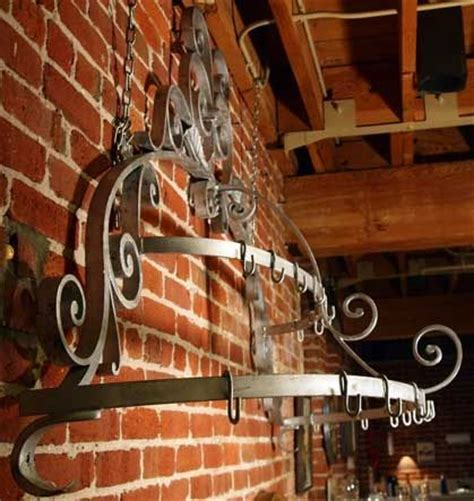Decorative Pot Rack by Large Decorative Forged Iron Hanging Pot Rack At 1stdibs