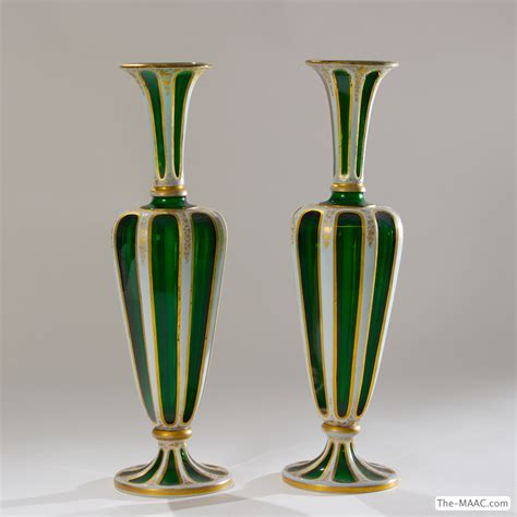Italian Glass Vases by Pair Of Antique Italian Glass Vases Maac
