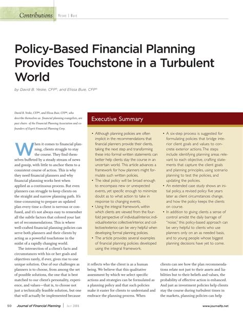 Golden Gate Mba Financial Planning by Policy Based Financial Planning Provides Pdf