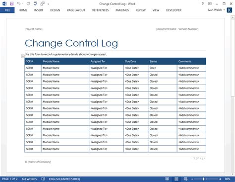 change control log ms excel word software testing template