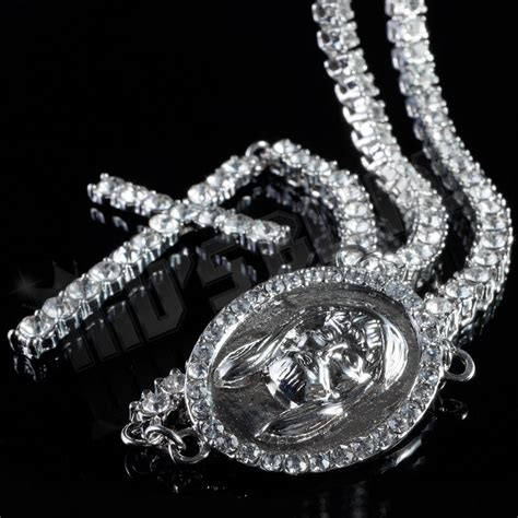 white gold rosary 14k white gold 1 row cz iced out rosary jesus cross charm