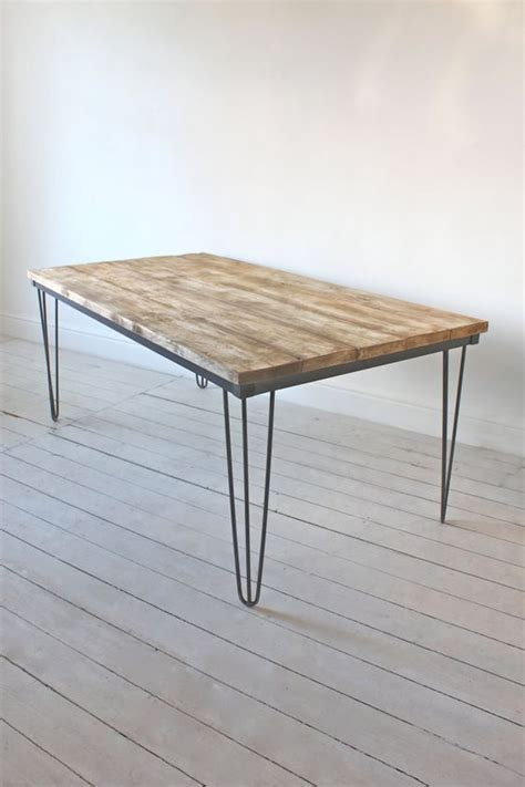 Dining Table With Hairpin Legs Reclaimed Scaffolding Board Dining Table With Steel Hairpin Legs Bespoke Furniture By Www