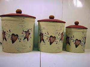 primitive kitchen canister sets items similar to primitive country tin hearts pip berries stoneware canister set on etsy