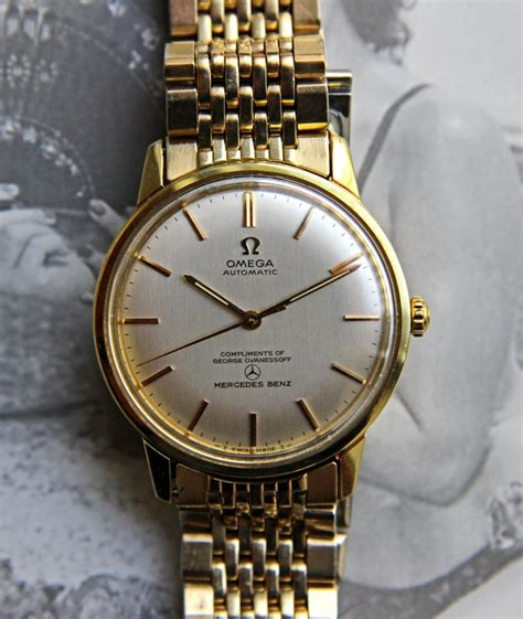 SOLD   Vintage Omega Ref. 165.002 Seamaster W/rare Double Name Mercedes Dial On Rice Bracelet