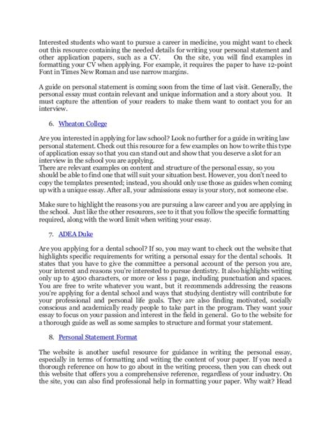 personal statement format   top educational sites
