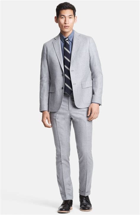 Light Grey Suits by Todd Snyder Light Grey Wool Flannel Suit In Gray For