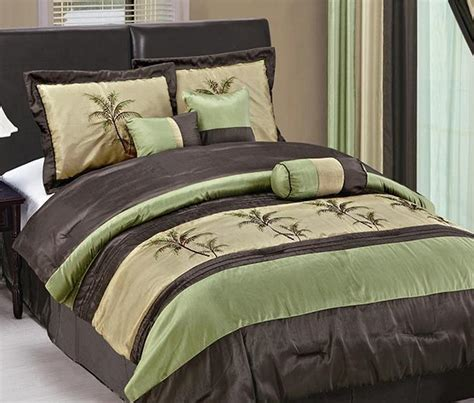 palm tree comforter set king 7pc hawaii embroidery palm tree faux silk comforter king