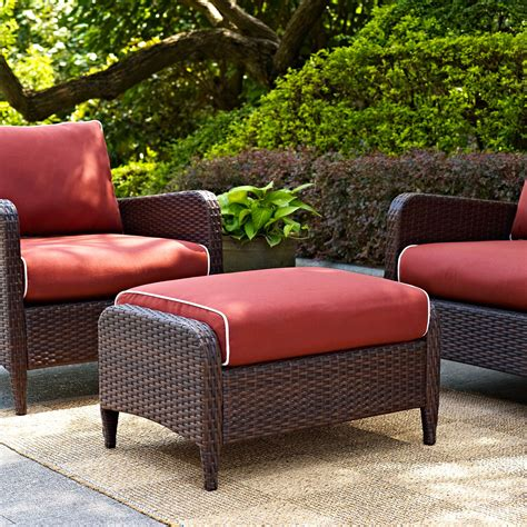 outdoor furniture ottoman cushions crosley kiawah outdoor wicker ottoman with sangria