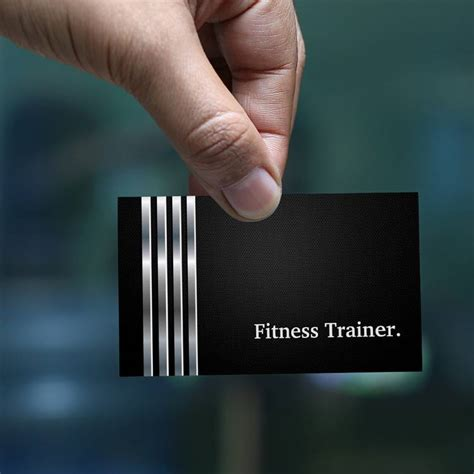 Fitness Instructor Business Card Templates by Fitness Trainer Professional Black Silver Sided