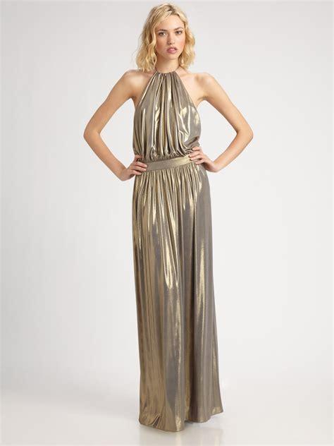 Metallic Dresses by Tibi Metallic Halter Dress In Gold Lyst