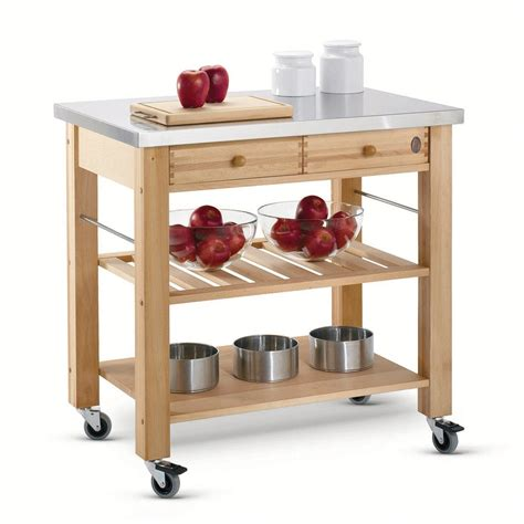 kitchen island trolleys eddingtons two drawer lambourn with stainless steel top wooden trolley robert dyas