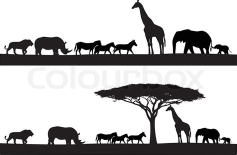 printable zoo animal silhouettes safari animal silhouette stock vector colourbox