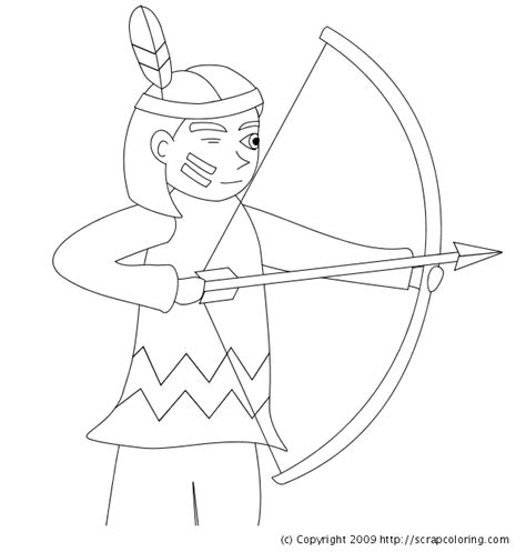 coloring page bow and arrow indian with bow and arrows coloring page