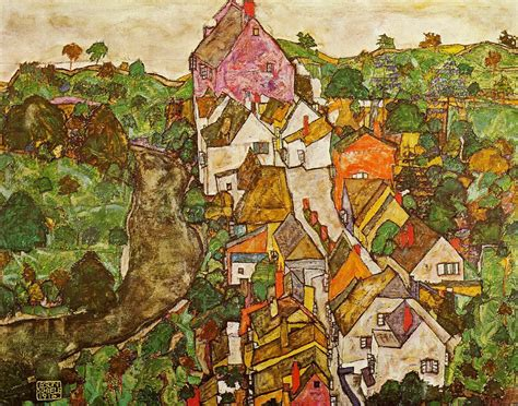 Landscape At Krumau 1916 Egon Schiele Wikiart Org