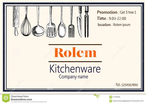 doodle name card name card kitcheware sale company handdraw doodle vector
