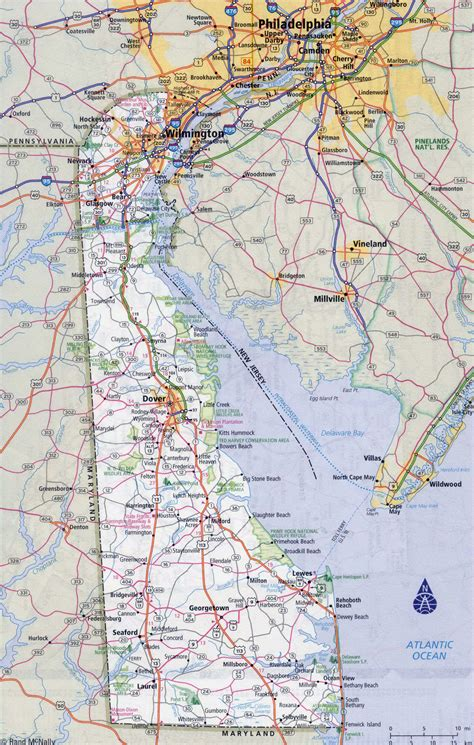 map of with all cities large detailed roads and highways map of delaware state