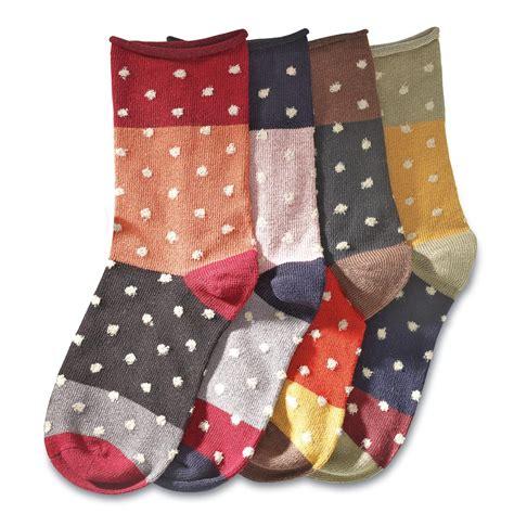 set of 4 cotton socks mismatched polka dot cotton socks set of 4 trendy