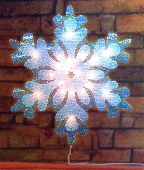 21 quot lighted holographic tinsel snowflake christmas window
