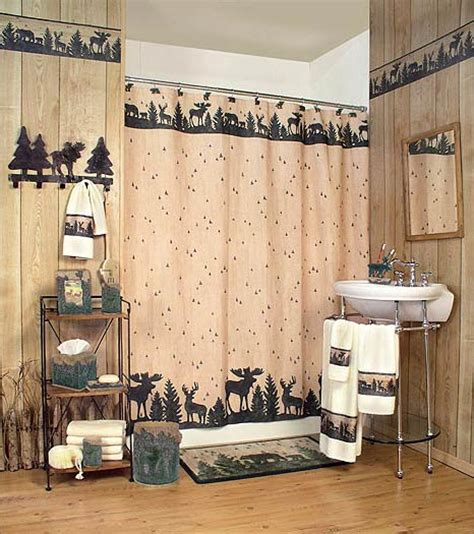 Woodland Bathroom Decor by Rustic Shower Curtain Picture