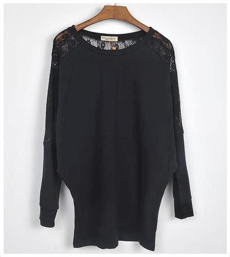 Top Bega Longsleeves Batwing womens sleeve casual dolman splice lace t shirt