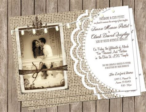 digital wedding invitation ideas burlap and lace rustic wedding invitation printable