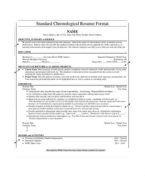 resume chronological template chronological resume template 23 free sles exles
