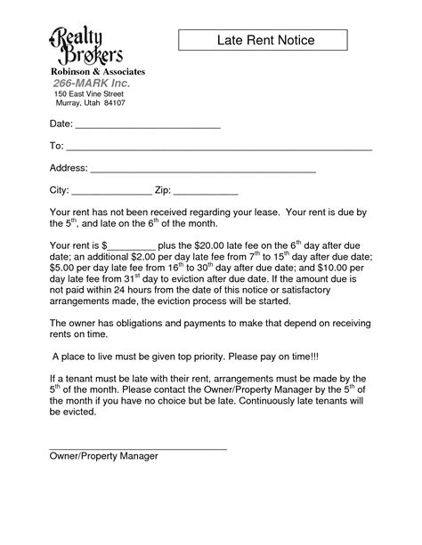 Mortgage Late Notice Letter Late Rent Notice Free Printable Documents