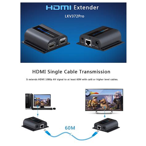 Original Hdmi Extender Bafo Support Up To 60m Untuk Cat5 Cat6 1 hdmi extender cat6 with loop out and ir transmitter receiver 1080p 60m lkv372pro ebay