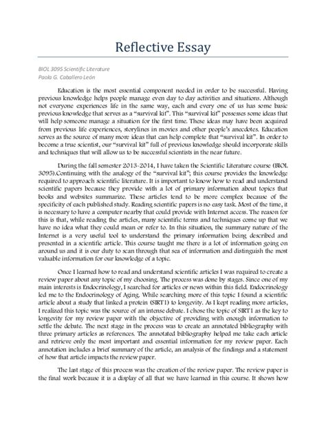 Reflection Essay On Writing by 1 Caballero Portfolio Reflective Essay Biol 3095