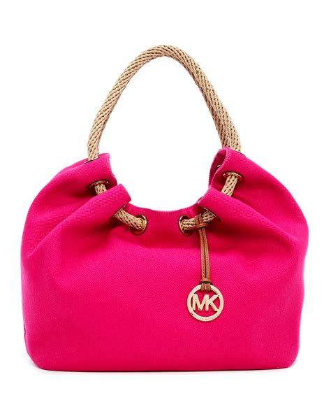 Mk Bag michael michael kors large marina canvas shoulder tote bag in purple electric pink lyst