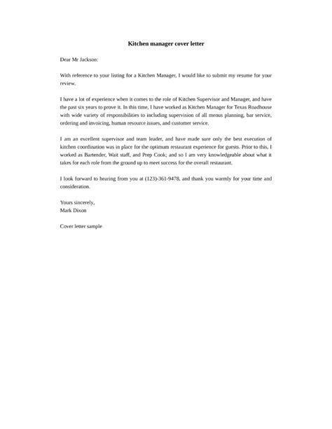 Cover Letter Exles Kitchen Kitchen Administrator Cover Letter Sles And Templates