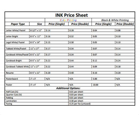 Wholesale Price Sheet Template by Price Sheet Template 9 Free Sles Exles Format