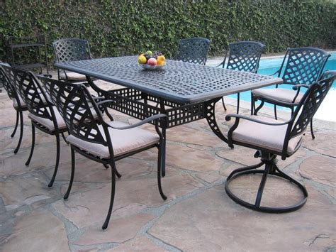 Aluminum Patio Furniture Set Outdoor Cast Aluminum Patio Furniture 9 Dining Set Kr With 2 Swival Rocker Ebay