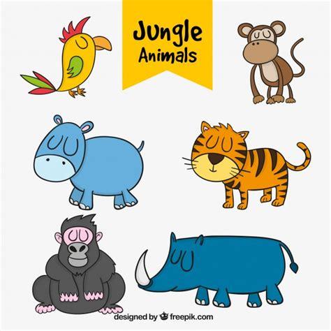 imagenes animales jungla varios animales de la jungla dibujados a mano descargar