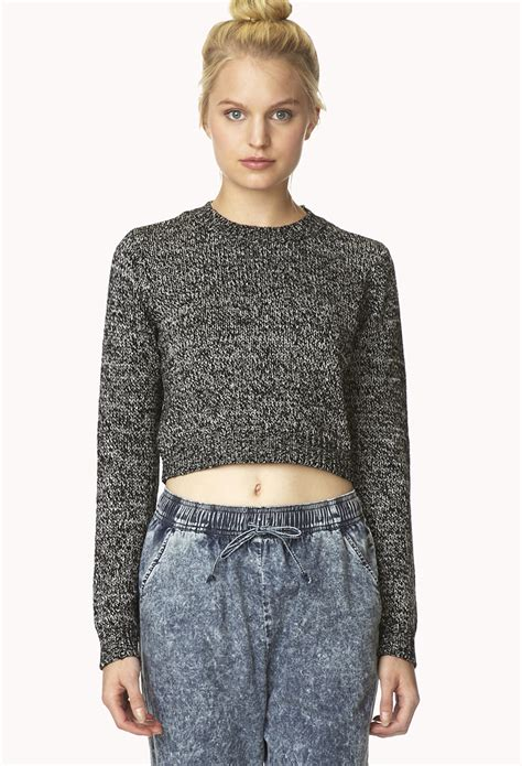 black knitted pattern hem crop top forever 21 marled moment cropped sweater you ve been added