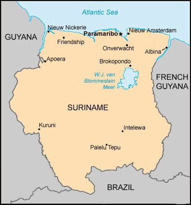 where is suriname on world map map suriname centre for intercultural learning