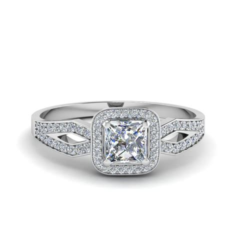 princess cut floating square halo ring in 14k
