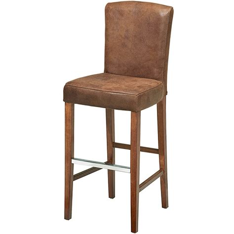 Leather Bar Stool With Back Ascot Aged Leather Bar Stool With Back Brown Drinkstuff