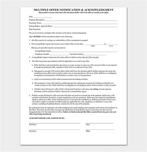 real estate offer forms  printable forms