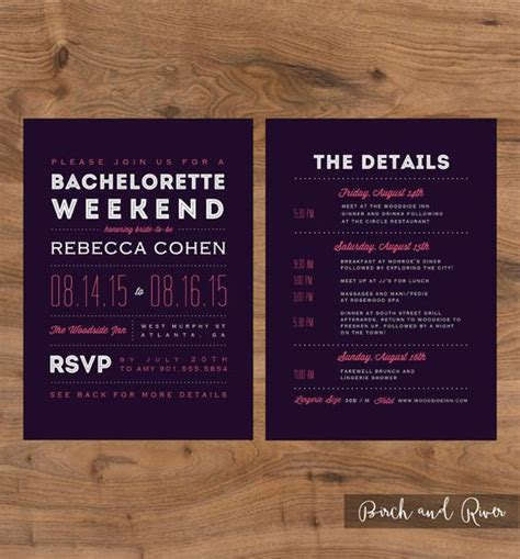 Printable Bachelorette Weekend Invitation And Itinerary Colors Are Customizable Cards Bachelorette Weekend Template