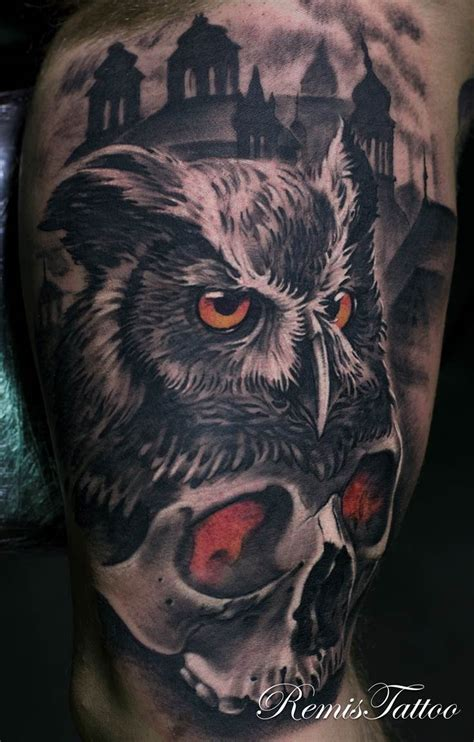 skull owl tattoo 58 best skull owl tattoos collection