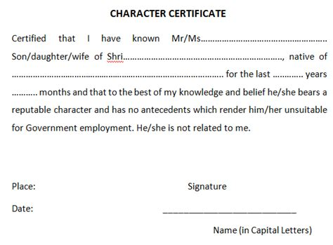 Character Certificate Letter In Sle Format Of Character Certificate For Bank And Student