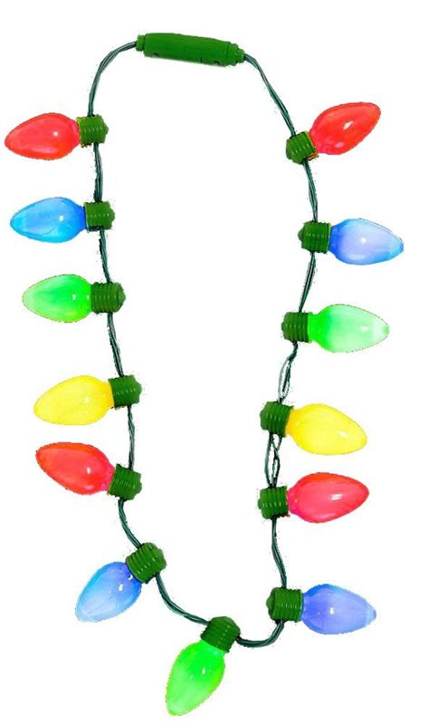 led light up retro christmas bulb necklace flashing large