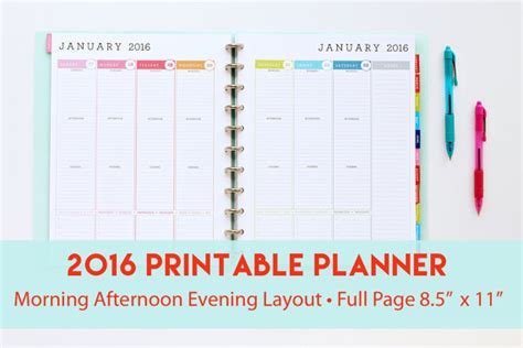 printable weekly planner pages 2016 2016 printable planner with morning afternoon evening by