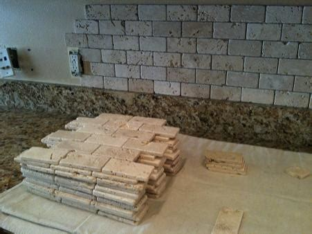 decorative ceramic wall tile backsplash with brick styled ceramictec 2x4 tumbled chiaro travertine backsplash