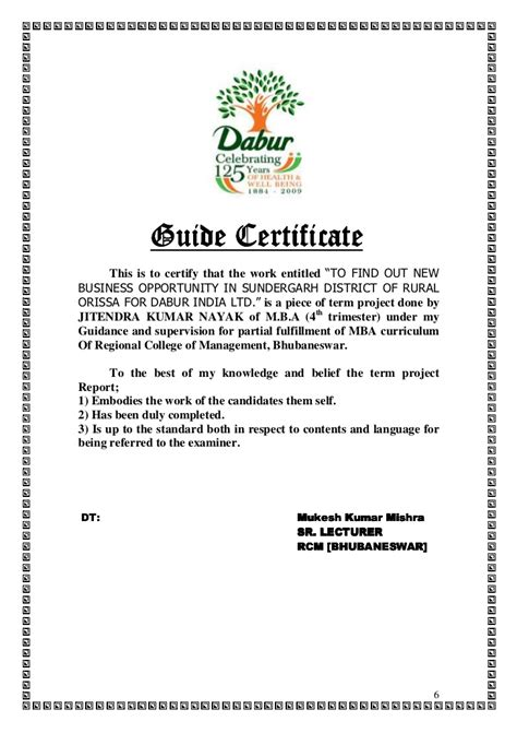 Mba Work Experience India by Dabur Summer Internship