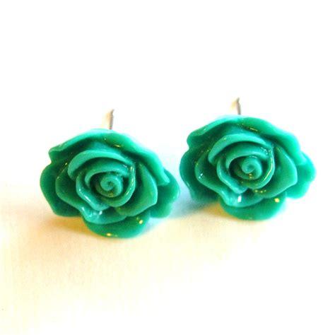 Flower Stud turquoise green flower stud earrings on luulla